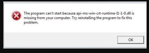 Penyebab Munculnya Pesan Error Api-Ms-Win-Crt-Runtime-l1-1-0.dll is Missing